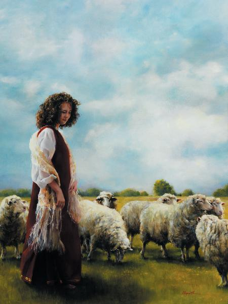 With Her Father's Sheep - 18 x 24 print by Elspeth Young