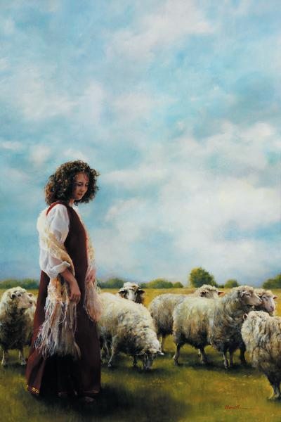 With Her Father's Sheep - 20 x 30 print by Elspeth Young