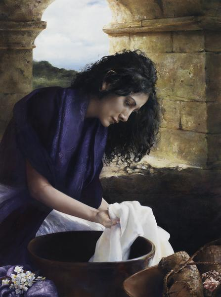 She Worketh Willingly With Her Hands - 9 x 12 giclée on canvas (pre-mounted) by Elspeth Young