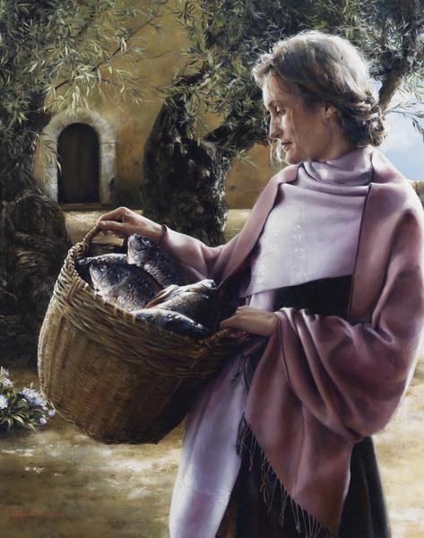And Martha Served - 11 x 14 giclée on canvas (pre-mounted) by Elspeth Young