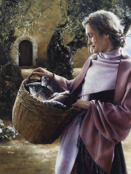 And Martha Served - 12 x 16 giclée on canvas (pre-mounted) by Elspeth Young