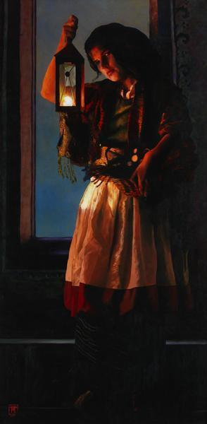 A Damsel Came To Hearken - 6 x 12.25 giclée on canvas (pre-mounted) by Ashton Young