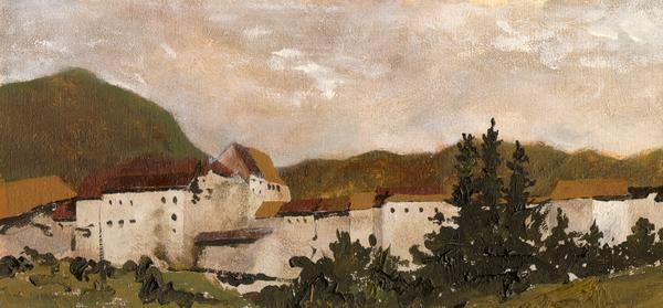 Village Study - 6 x 13 giclée on canvas (pre-mounted) by Ashton Young