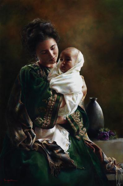 Bearing A Child In Her Arms - 6 x 9 giclée on canvas (pre-mounted) by Elspeth Young