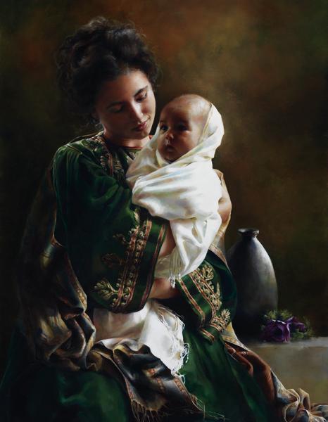Bearing A Child In Her Arms - 14 x 18 giclée on canvas (pre-mounted) by Elspeth Young