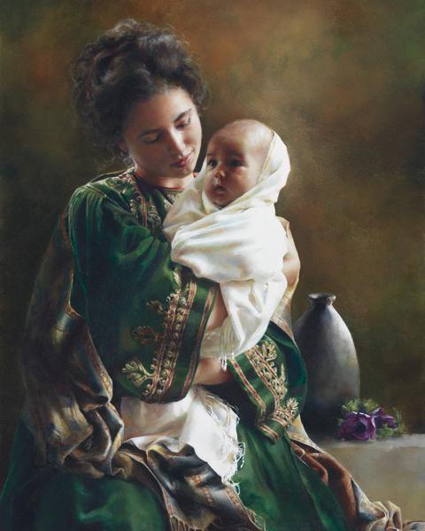 Bearing A Child In Her Arms - 16 x 20 print by Elspeth Young