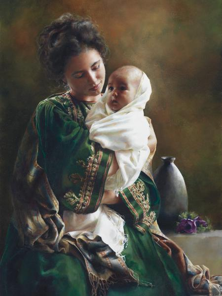 Bearing A Child In Her Arms - 18 x 24 print by Elspeth Young