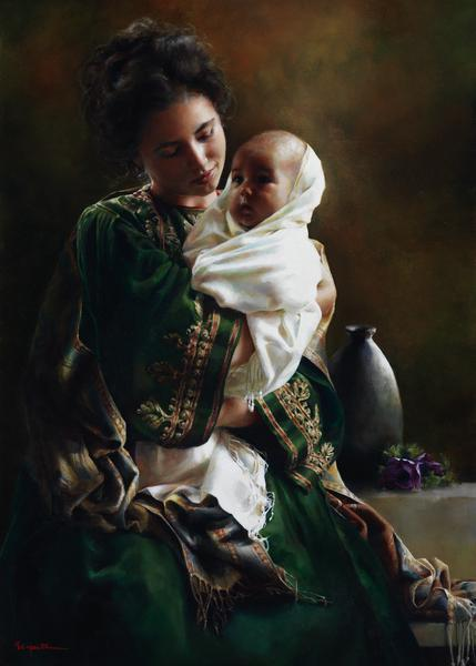 Bearing A Child In Her Arms - 20 x 28 print by Elspeth Young