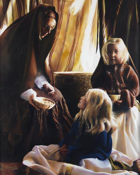 The Daughters Of Zelophehad - 16 x 20 giclée on canvas (pre-mounted) by Elspeth Young