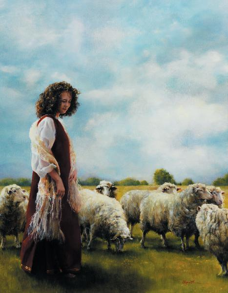 With Her Father's Sheep - 14 x 18 print by Elspeth Young