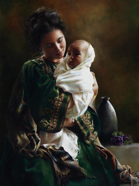 Bearing A Child In Her Arms - 12 x 16 print by Elspeth Young