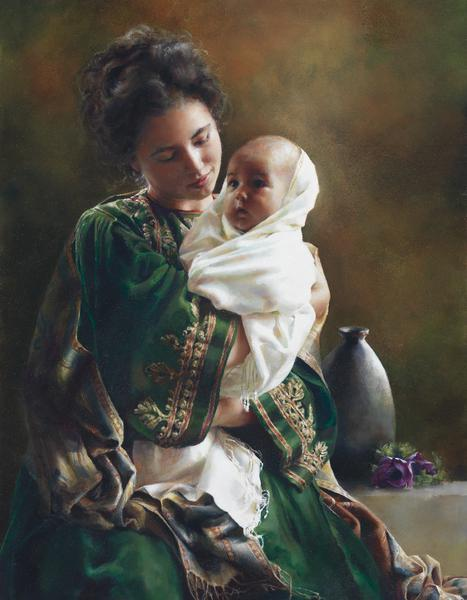 Bearing A Child In Her Arms - 14 x 18 print by Elspeth Young