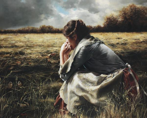 As A Sparrow Alone - 16 x 20 giclée on canvas (pre-mounted) by Elspeth Young