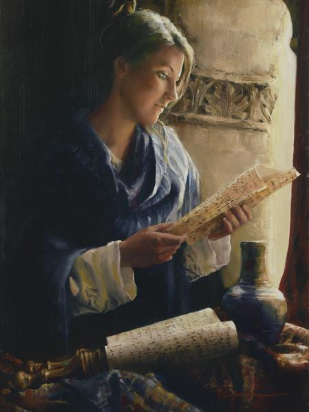 Treasure The Word - 18 x 24 giclée on canvas (pre-mounted) by Elspeth Young