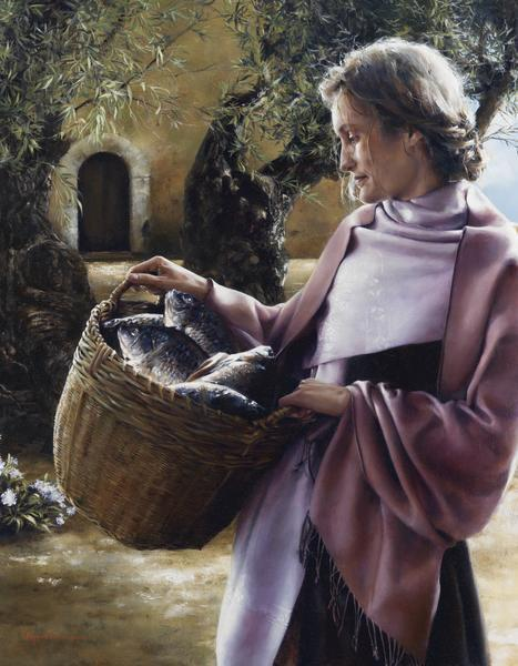 And Martha Served - 14 x 18 giclée on canvas (pre-mounted) by Elspeth Young