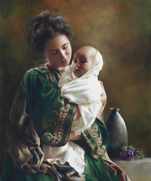Bearing A Child In Her Arms - 20 x 24 print by Elspeth Young