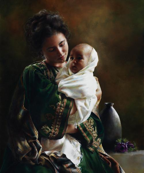 Bearing A Child In Her Arms - 20 x 24 giclée on canvas (unmounted) by Elspeth Young