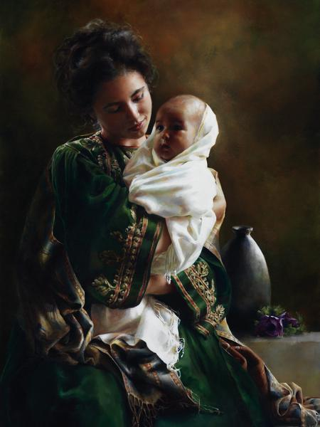Bearing A Child In Her Arms - 30 x 40 print by Elspeth Young