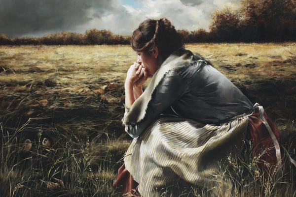 As A Sparrow Alone - 24 x 36 giclée on canvas (unmounted) by Elspeth Young