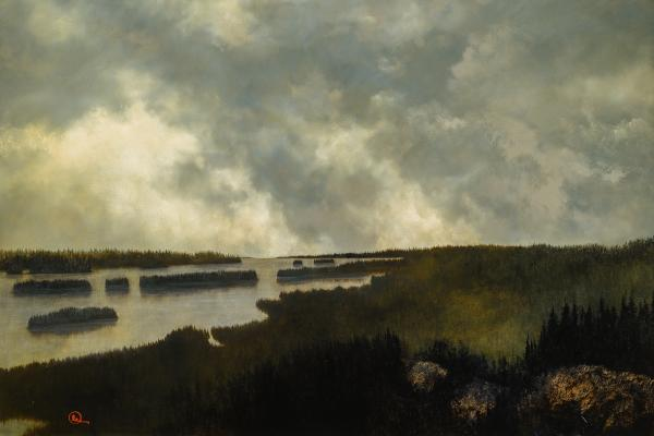 Under The Northern Mountains - 24 x 36 giclée on canvas (unmounted) by Al Young
