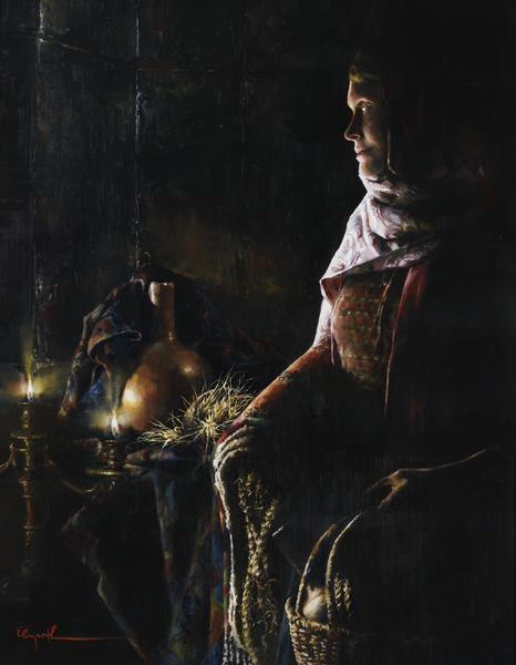 A Lamp Unto My Feet - 14 x 18 giclée on canvas (pre-mounted) by Elspeth Young