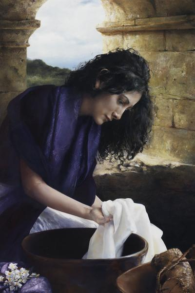 She Worketh Willingly With Her Hands - 24 x 36 giclée on canvas (unmounted) by Elspeth Young