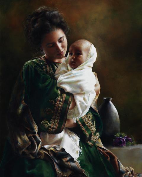 Bearing A Child In Her Arms - 24 x 30 print by Elspeth Young