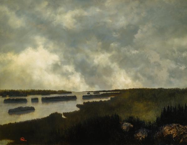 Under The Northern Mountains - 14 x 18 giclée on canvas (pre-mounted) by Al Young