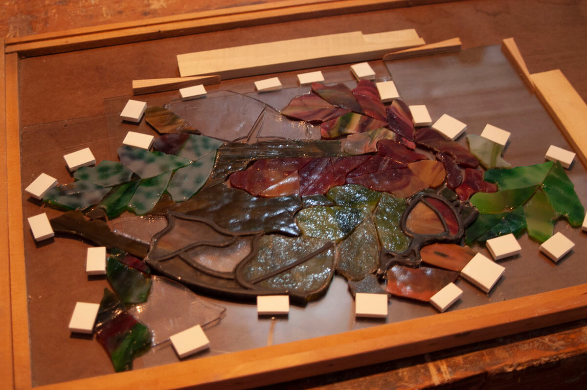 Shown here is a region containing areas remaining intact as well as pieces in need of replacement.&n...
