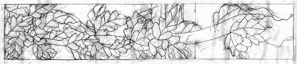 The first task was to create a map of the configuration of the many pieces of glass in the window.&n...