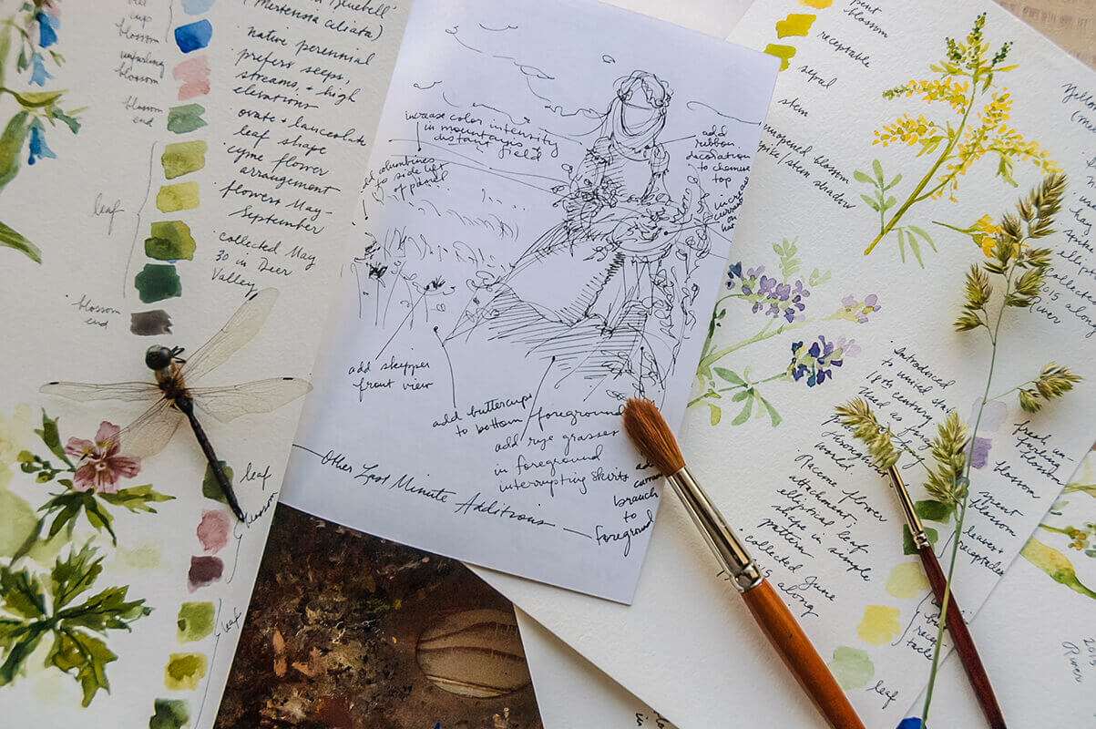 Some of Elspeth's research notes in preparation for this painting project include costume and compos...