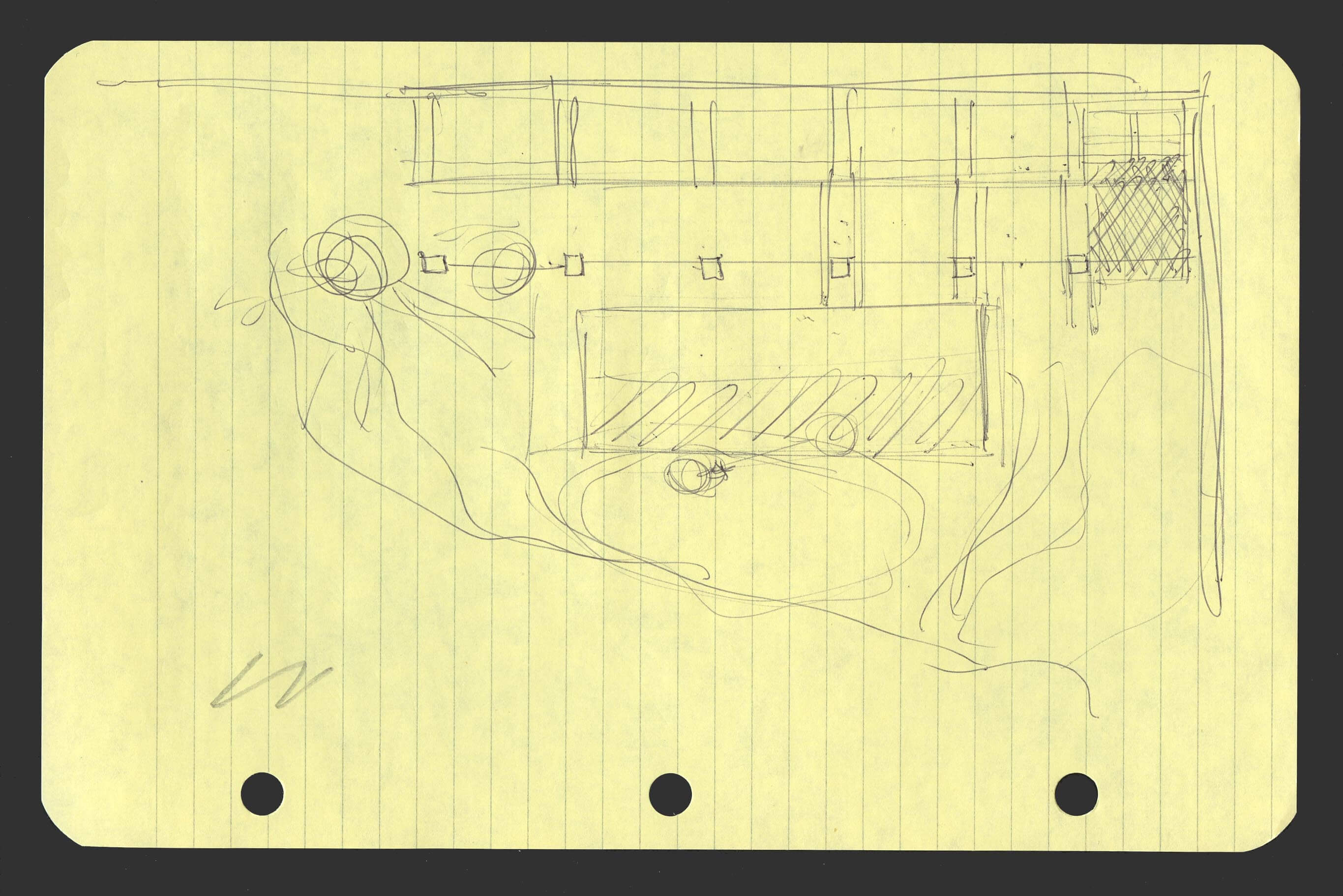 Concept sketch for placement of the barn.At the top of the sketch and to the left, a pin...