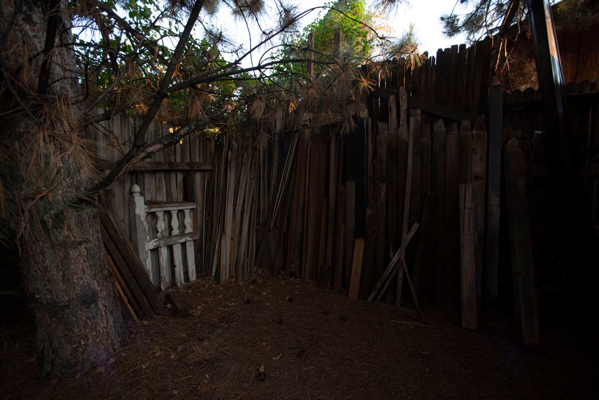 The enclosure on the west side of the barn is home to our lumber yard of weathered wood, used for ev...