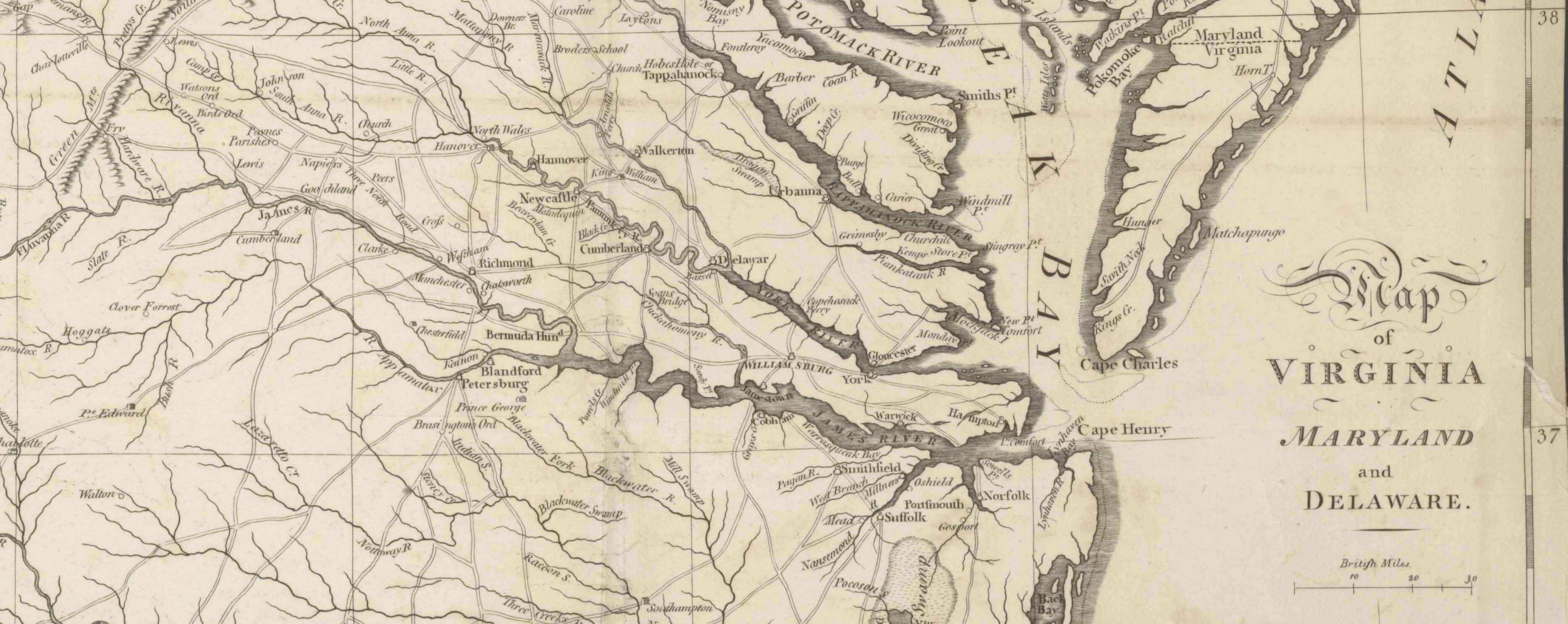 Detail from 1794 map of virginia, maryland and delaware with Charlottesville in the upper left, on t...