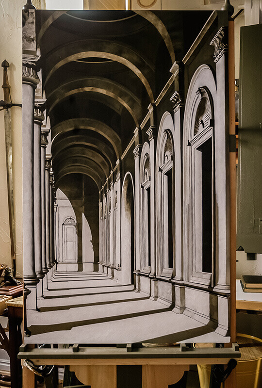 This is the monochromatic alla prima underpainting for the entire background of The Windows Of Heave...
