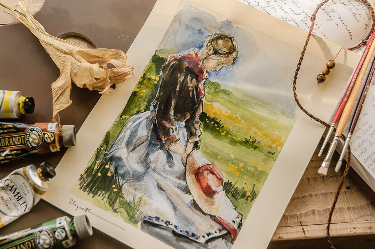 Costume Study (watercolor and acrylic sketch) for Lucinda Pace in Blessed, Honored Pioneer by Elspet...