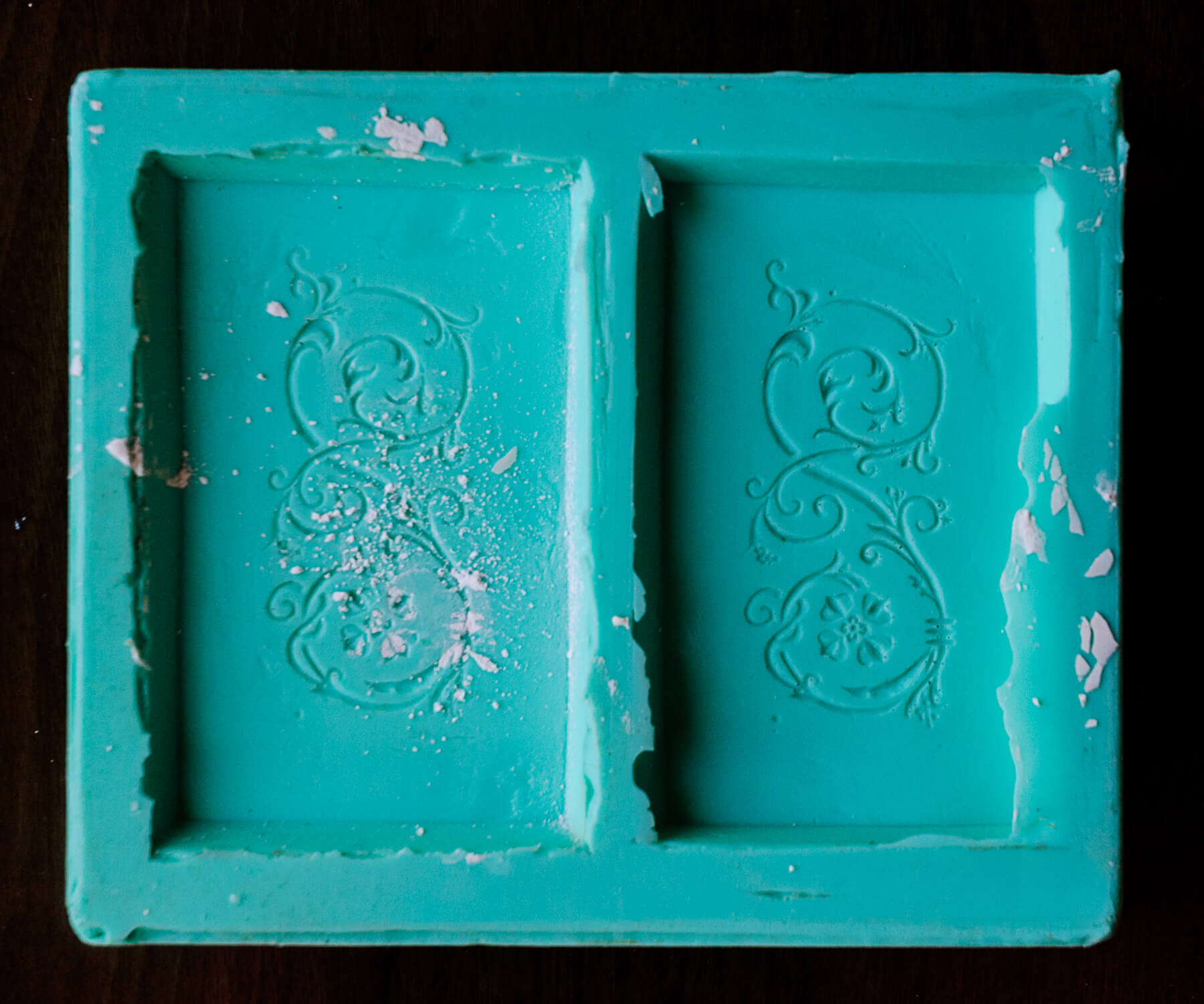 This is the mold created from the plaster-positives of the design motif.
