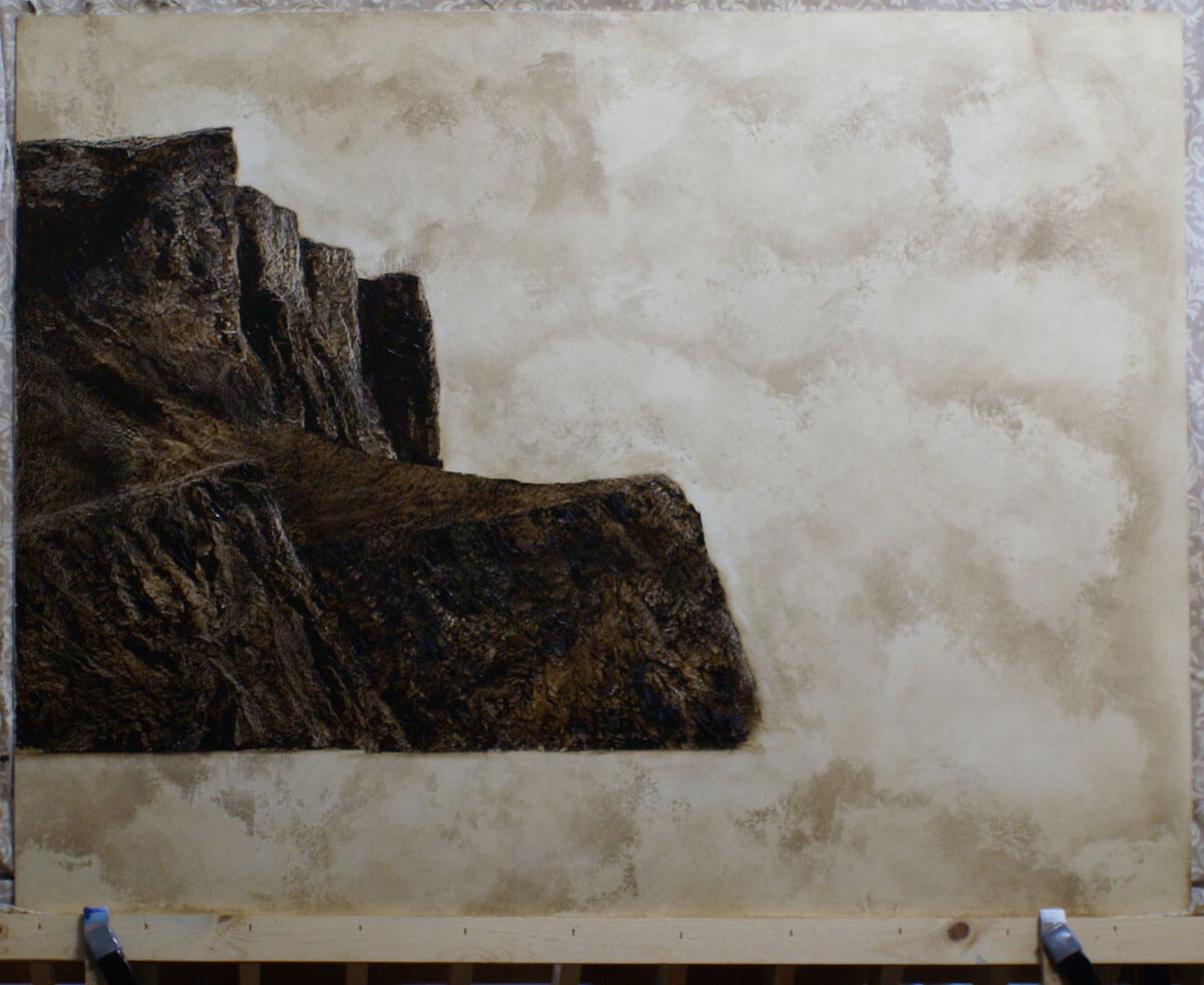 The floating anvil as it appeared at the end of the first painting session.This under-pa...