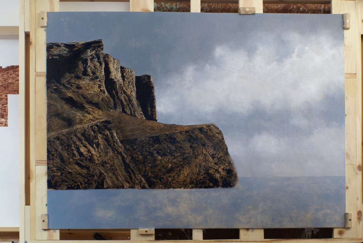 This photograph, in the development of the painting, shows the initial layer of the sky....