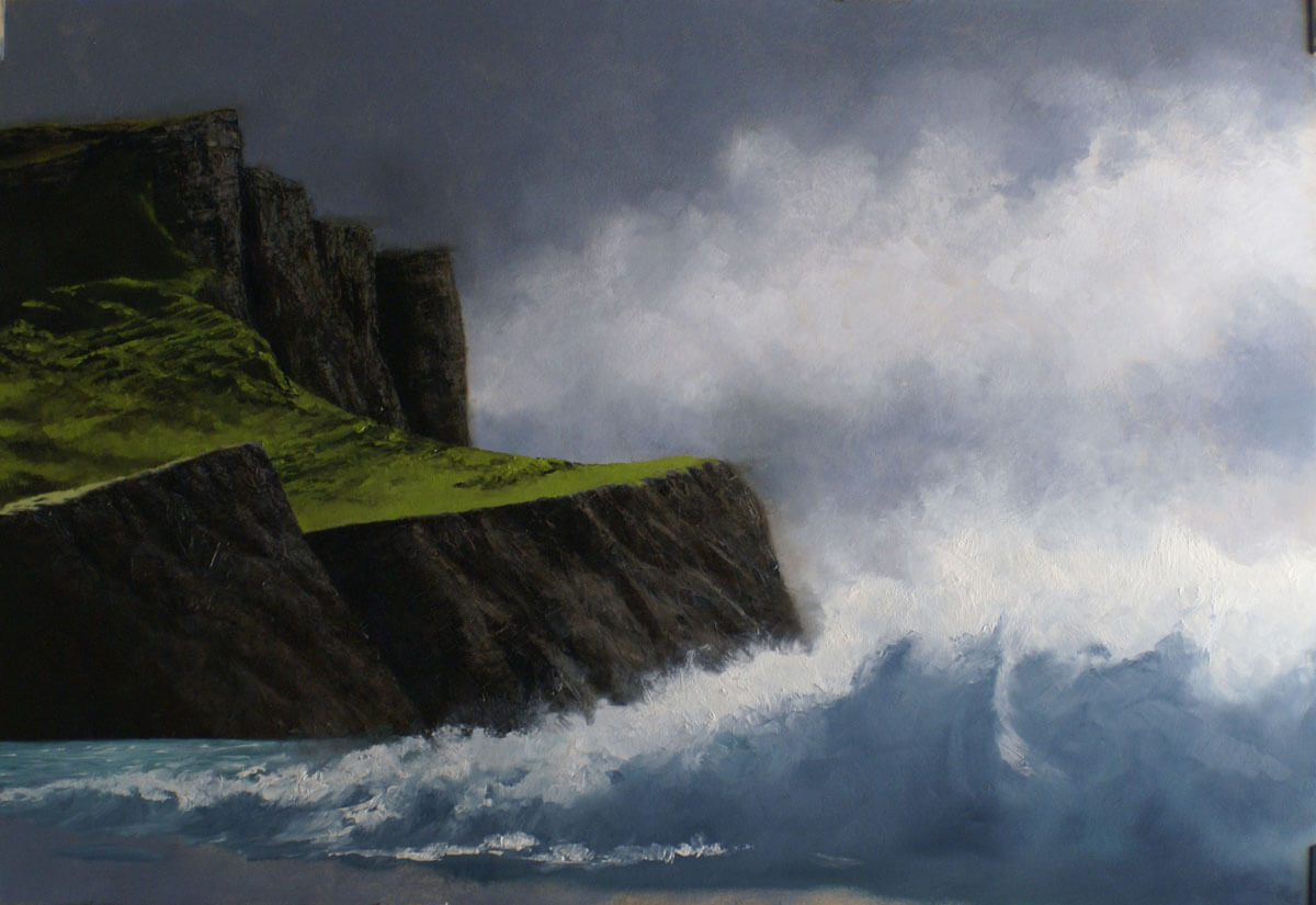 Across a couple of sessions, I sketched the waves and was disturbed by the proximity to the foregrou...