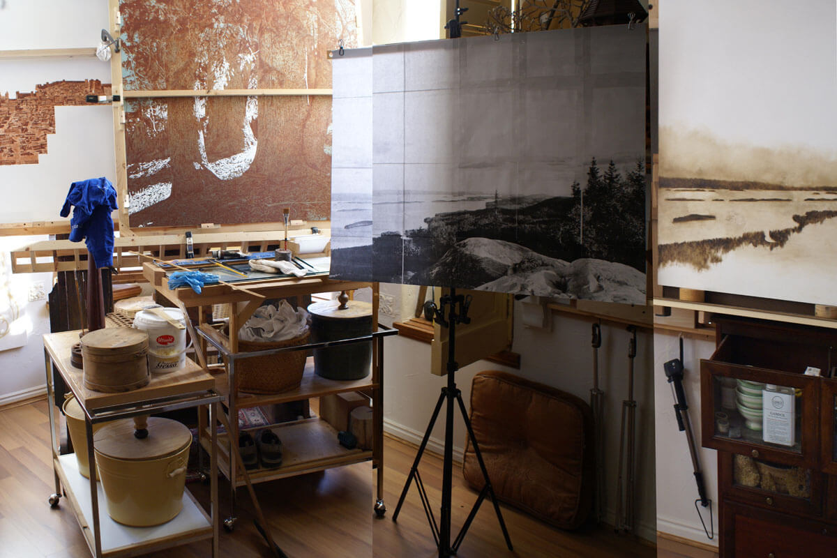 This photograph shows the studio at the end of the first painting session for the monochromatic unde...