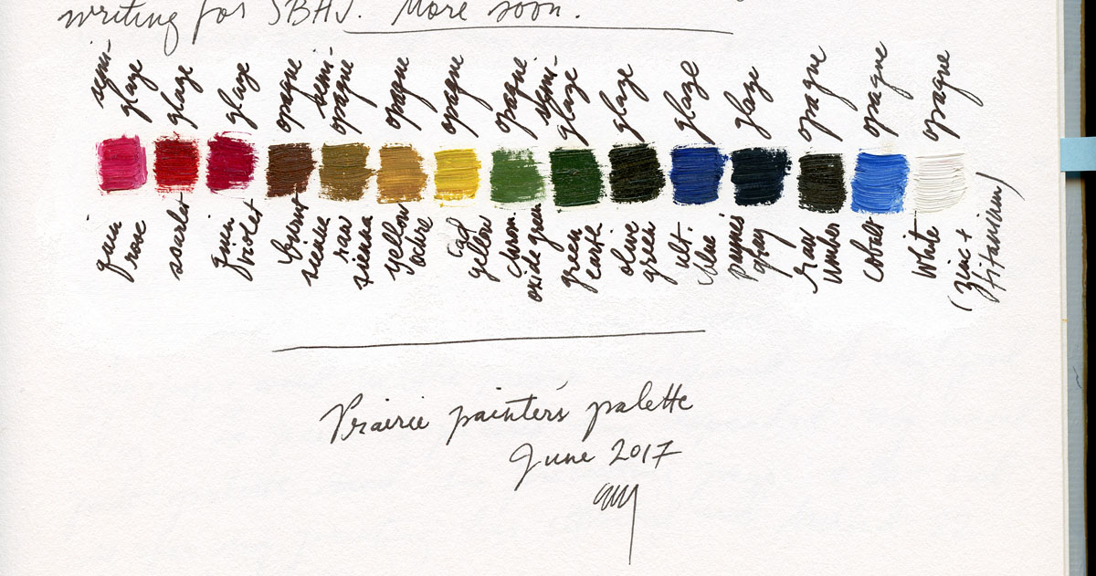 Record of the oil pigment palette for the entire painting