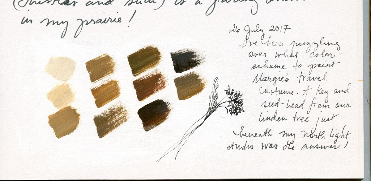 Costume color-swatch study in watercolor by Elspeth Young