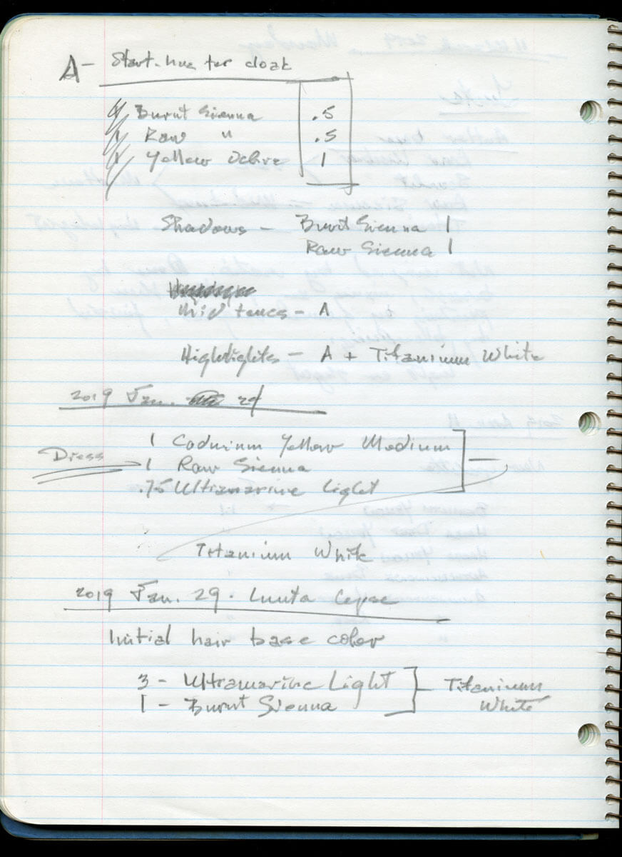 Notes from my spiral studio journal in which I can jot down formulas, however cryptically, without b...