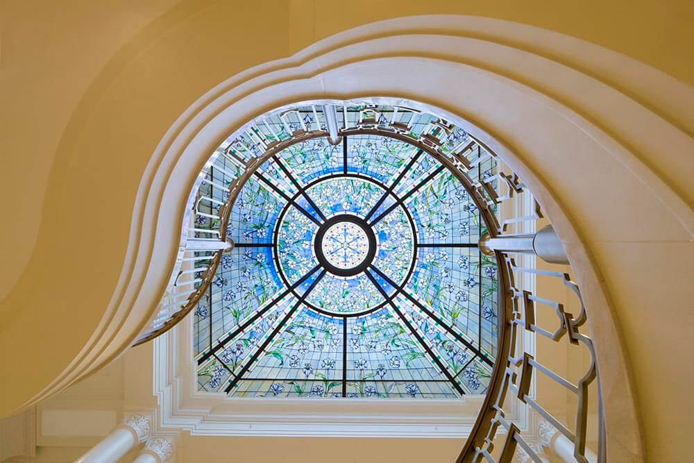 Skylight above the grand staircasein the Paris France Temple ofThe Church of Jesus Christ of Latter-...