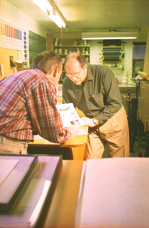 Once a set of trial proofs has been printed, Al and Wayne evaluate them.Any adjustments ...