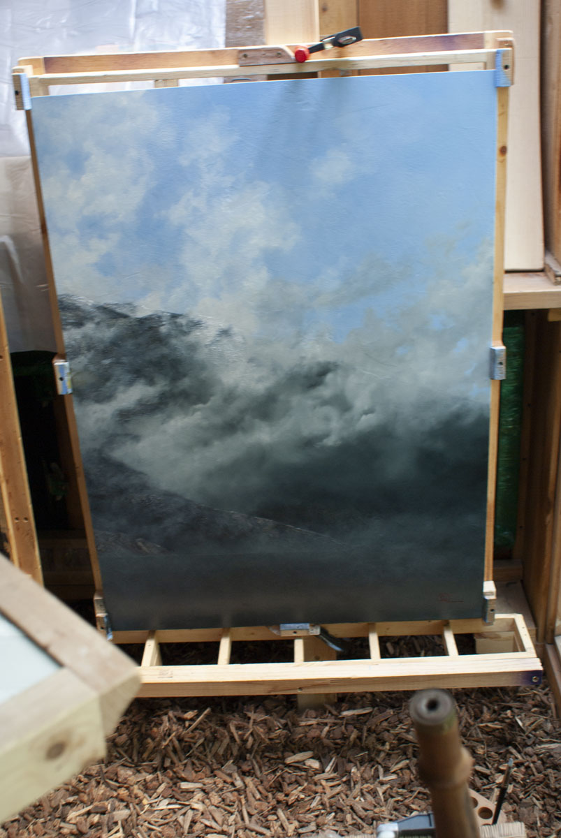 The signed, righthand panel of the triptych dries in the old plein air studio.