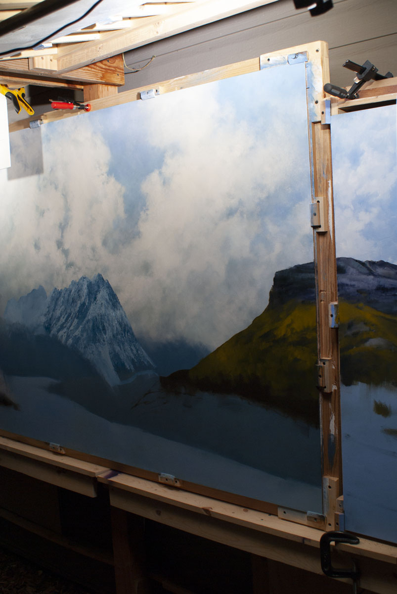 The 4x4 post easel is used to complete the underpainting of the righthand panel and the right side o...