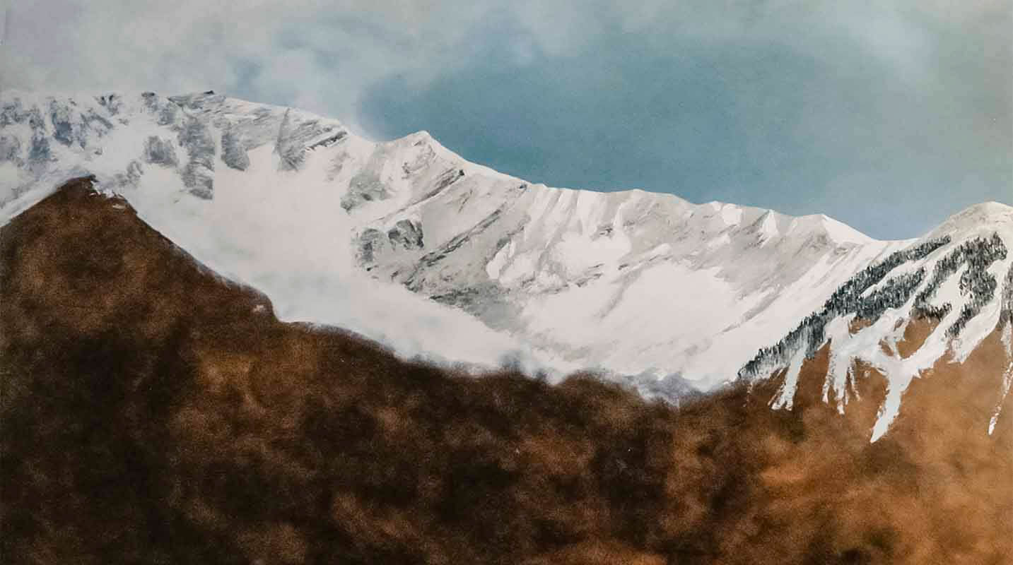 This photograph was taken while creating the alla prima underpainting for the mountains in Den Komme...