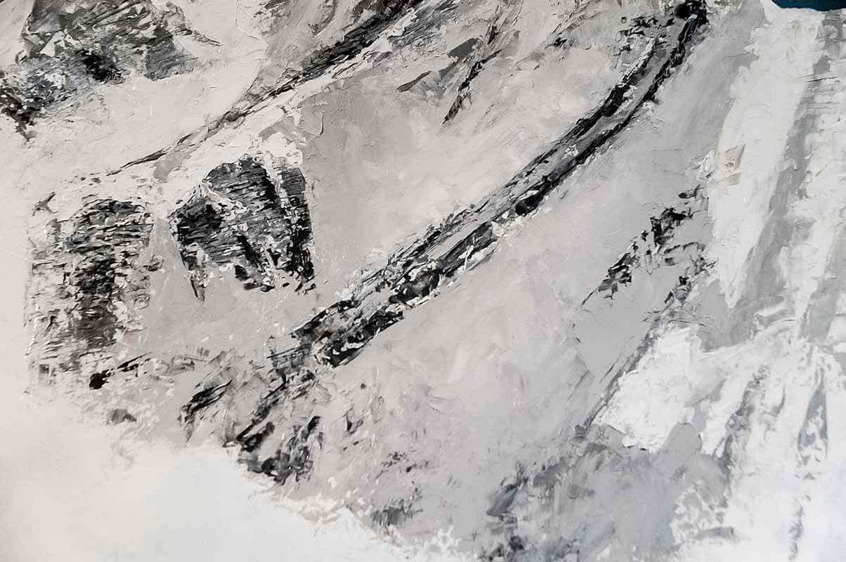This detail from the alla prima underpainting of the mountains shows the high-contrast and highly te...